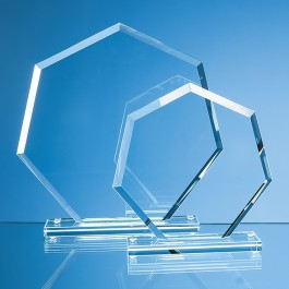 22.5cm x 22.5cm x 1cm Jade Glass Bevelled Edge Heptagon Award