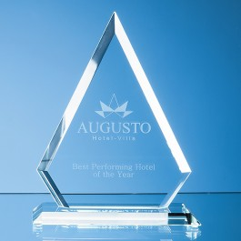25cm x 19cm x 12mm Jade Glass Bevelled Edge Diamond Award