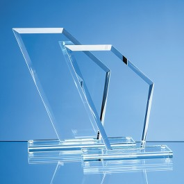 21cm x 18cm x 1cm Jade Glass Bevelled Edge Wing Award