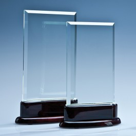 16.5cm x 10cm x 10mm Crystal Rectangle on a Rosewood Base