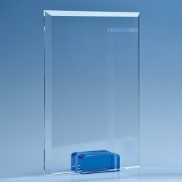 16.5cm Optical Crystal Rectangle with a Cobalt Blue Base