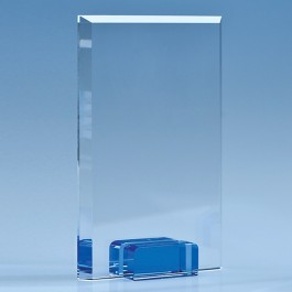 18.5cm Optical Crystal Rectangle with a Cobalt Blue Base