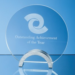 14cm x 10mm Clear Glass Circle mounted on an Aluminium Base