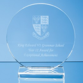 15cm x 12mm Clear Glass Circle Award