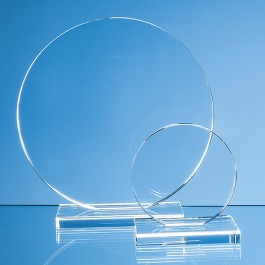 20cm x 12mm Clear Glass Circle Award