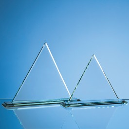 27cm x 27cm x 12mm Jade Glass Pyramid Award
