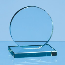 10cm x 12mm Jade Glass Circle Award
