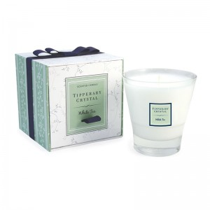 White Tea Candle Filled Tumbler Glass