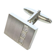 Rectangle with Triple Crystal Inset Cufflink