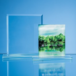 15cm x 12.5cm x 12mm Jade Glass Bevelled Edge Rectangle Award